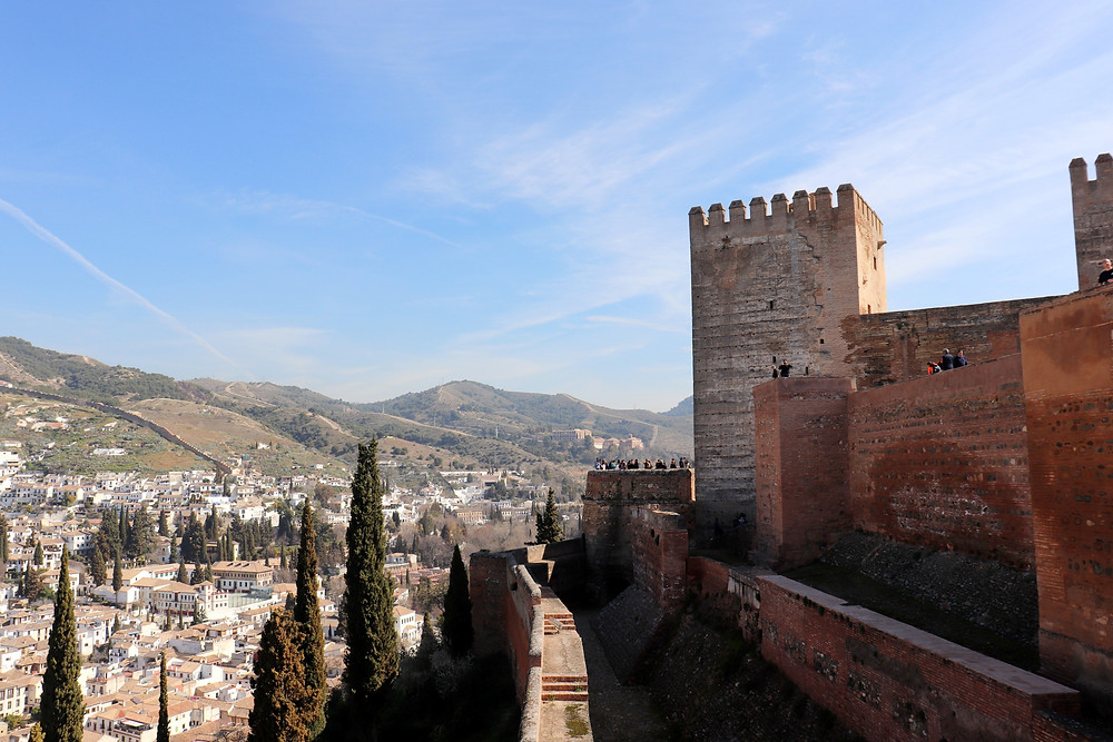 Alhambra Fortress view from the top of the tower in Granada Spain