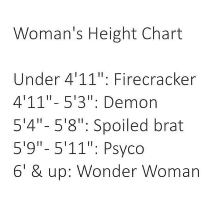 Women Memes - Women's Height Chart. Firecracker Demon Wonder Woman