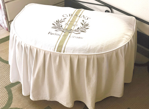 French Stenciled Ottoman Slipcover