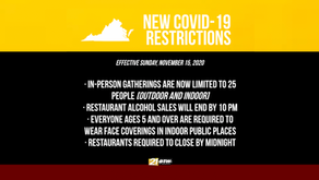 New COVID-19 restrictions in Virginia will begin on Sunday