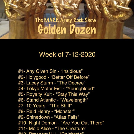 This Weeks Golden Dozen from The MARR Army Rock Show