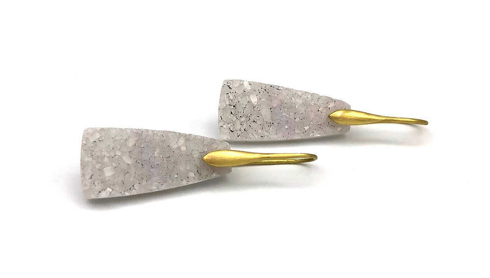 White Druzy Drop Earrings | 18k Yellow Gold