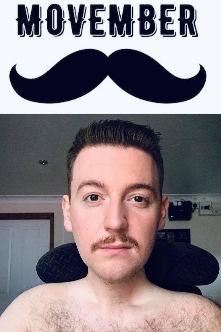 Image of Ross's shaven with just a moustache left, with a movember text header
