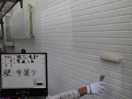 川越市S様邸外壁塗装工事施工中①