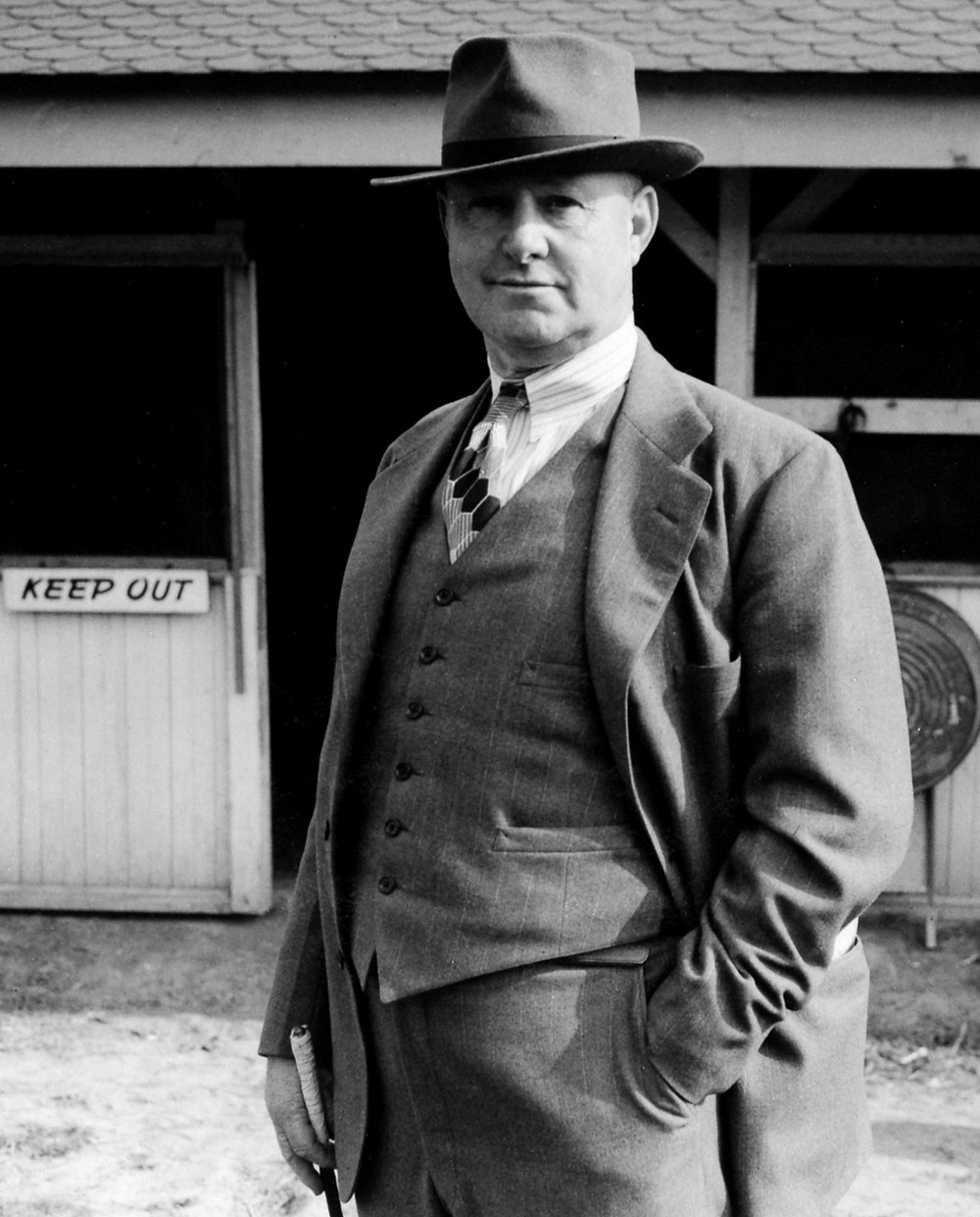Hall of Fame horse trainer Ben A. Jones in Keeneland in 1941.