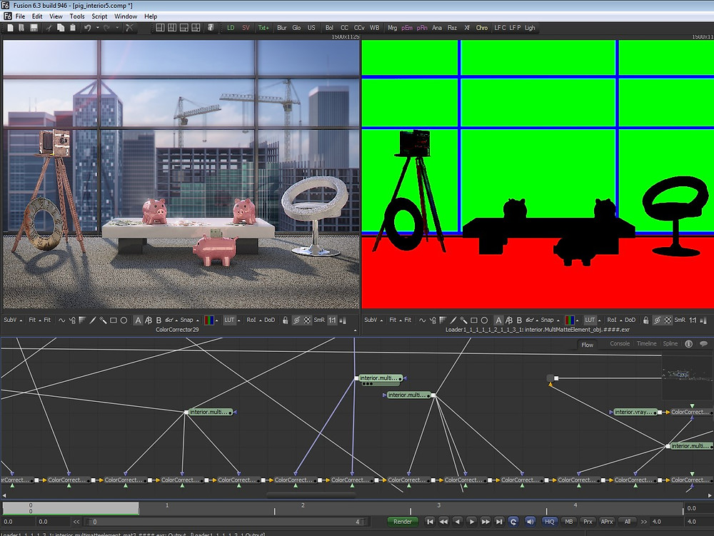The compositing process in Blackmagic Fusion