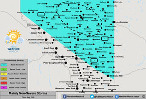 Thunderstorm Forecast, for Southern Alberta. Issued July 11th, 2019.