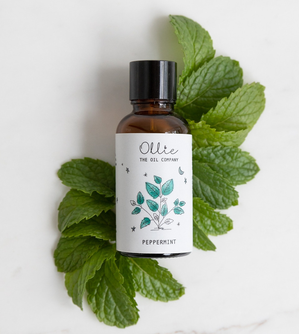peppermint essential oil on peppermint leaves