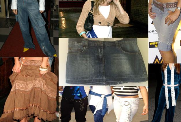 noughties fashion; low-slung loop belt; denim cargo trousers; cropped cardigan; pedal pusher; velour tracksuit; mini denim skirt; gypsy skirt