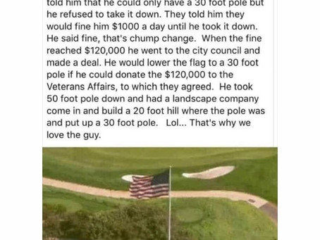 Funny story about Trump and a flag pole.
