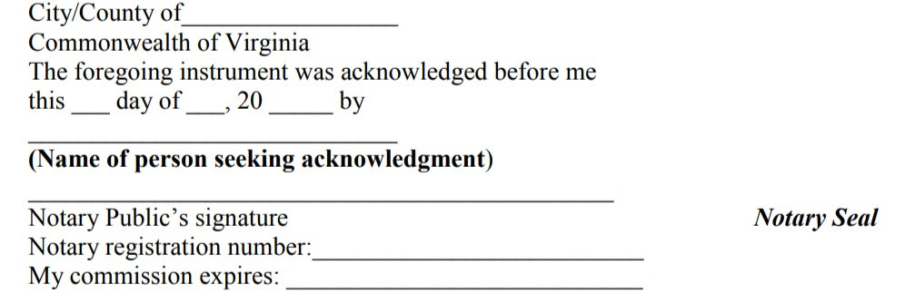 Acknowledgement Certificate  | Source:virginia.gov