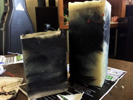 Two blocks of soap after removal from their 1 litre milk carton mold.