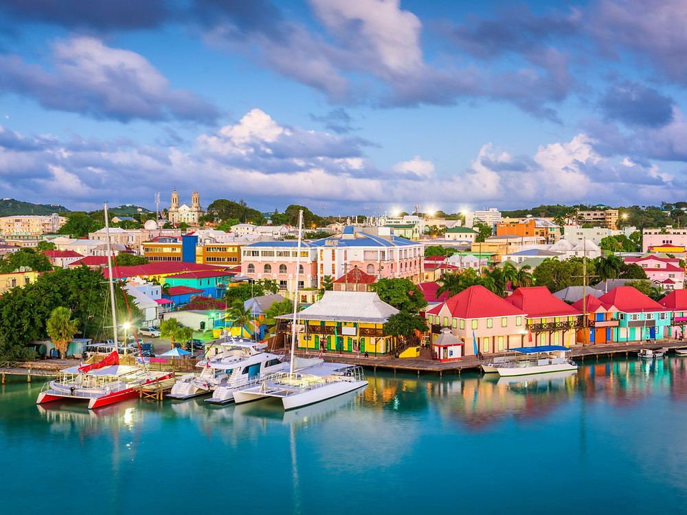 St. John's, Antigua and Barbuda town skyline on Redcliffe Quay at dusk