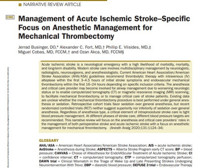 The October edition of Anesthesia and Analgesia features two of our critical care physicians.
