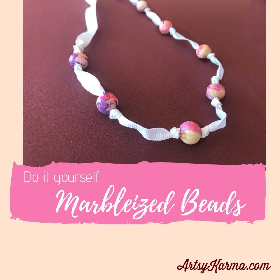 diy marbleized beads