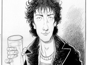 Portrait of author Neil Gaiman by Chris Riddell (2013)