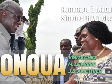 BONOUA : VISITE DE MADAME SIMONE EHIVET GBAGBO CHEZ MONSIEUR LE MAIRE JEAN PAUL KOUA AMETHIER