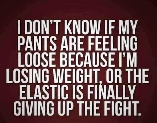I don't know if my pants are feeling loose because I'm losing weight or the elastic is finally giving up the fight Meme & Many More Funny Dieting Memes