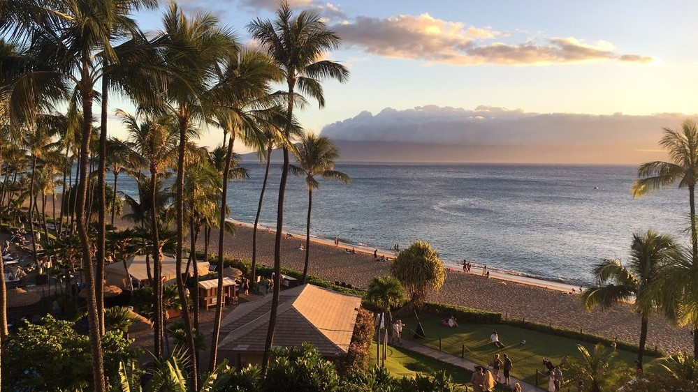 Surf and sunset at the Westin Hotel, Kaanapali