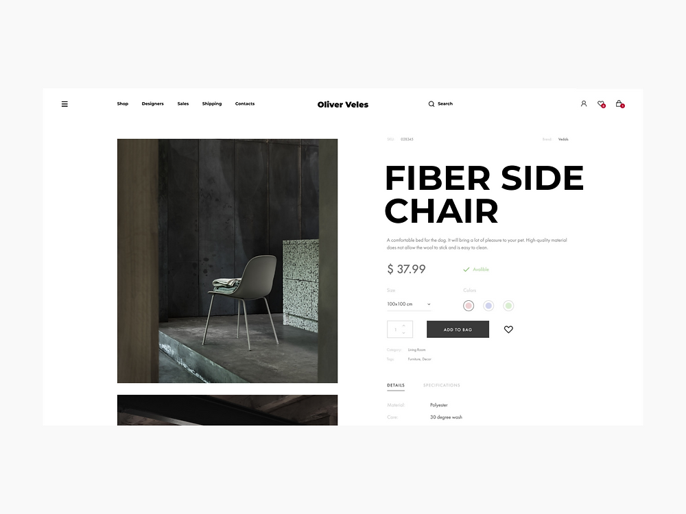 Oliver Veles Furniture Online Store Product Card