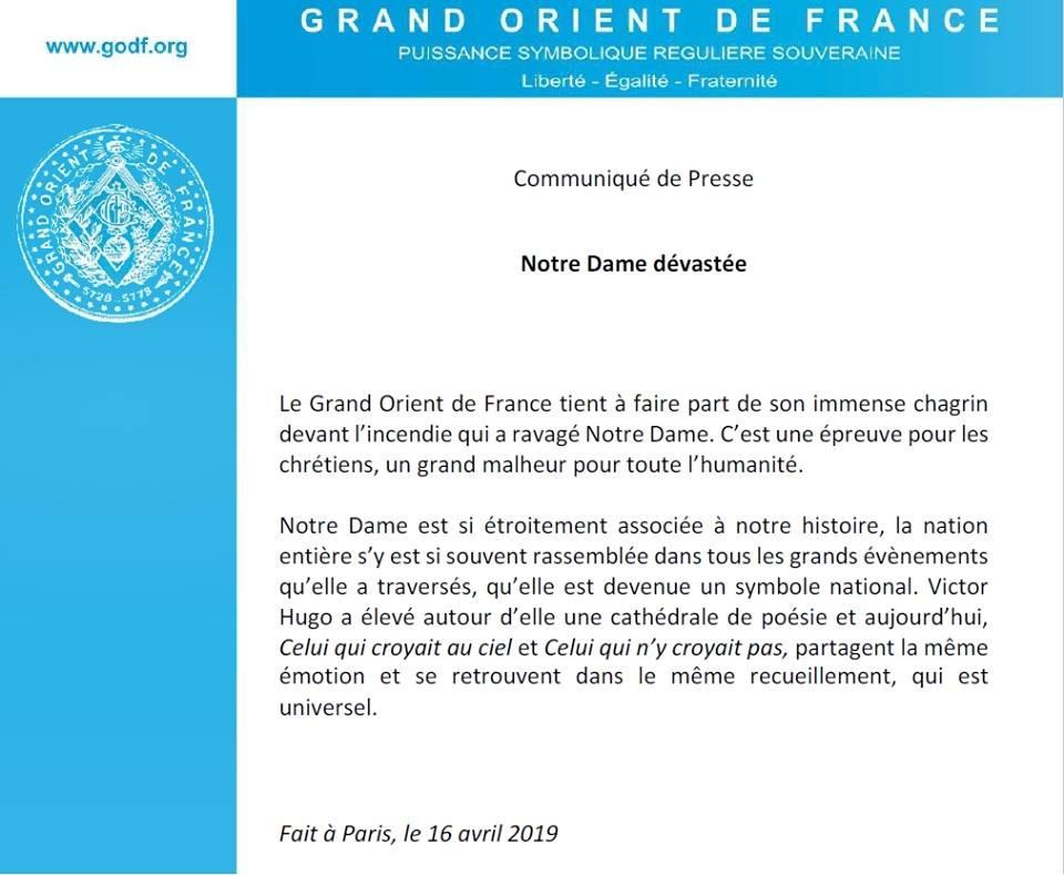 Pensamentos sobre um Comunicado do Grande Oriente de França