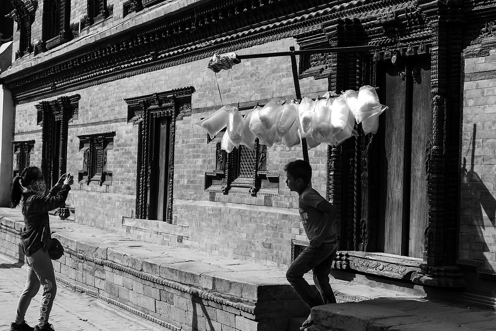 Cotton candy vendor in Bhaktapur, Nepal