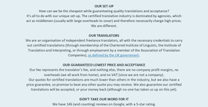 Our Certified Translation Information Sheet