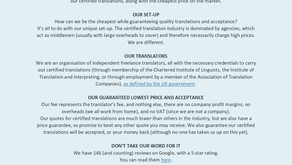 Our Certified Translation Information Sheet
