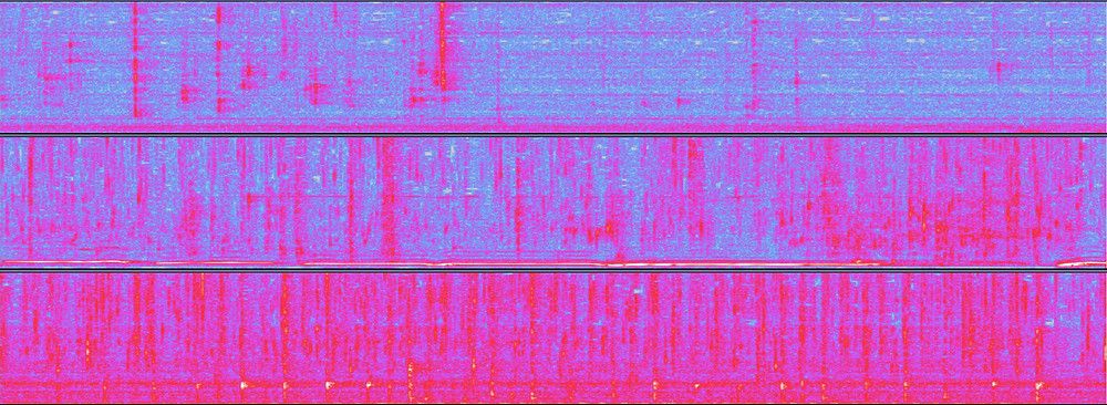 Spectrograms of three hand-washing soundtracks. The first shows much more blue, the third much more pink and the second is a mix of blue and pink.