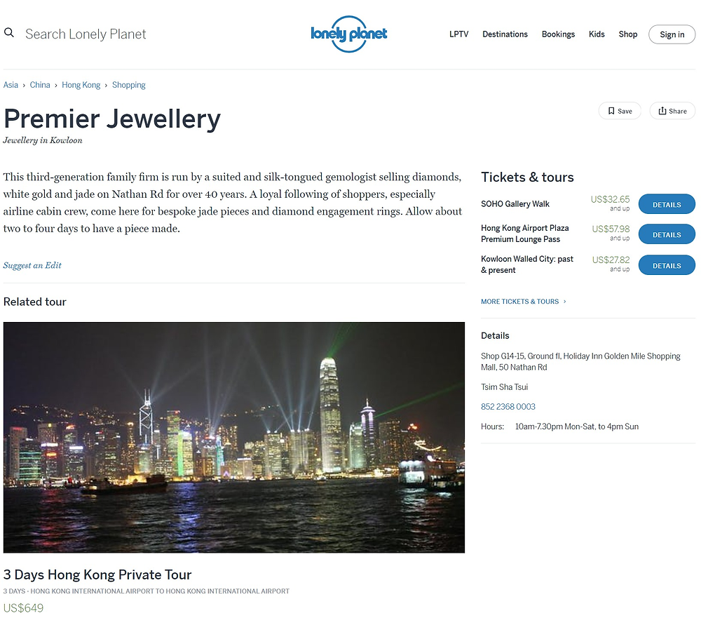 Premier Jewellery recommendation from lonely planet