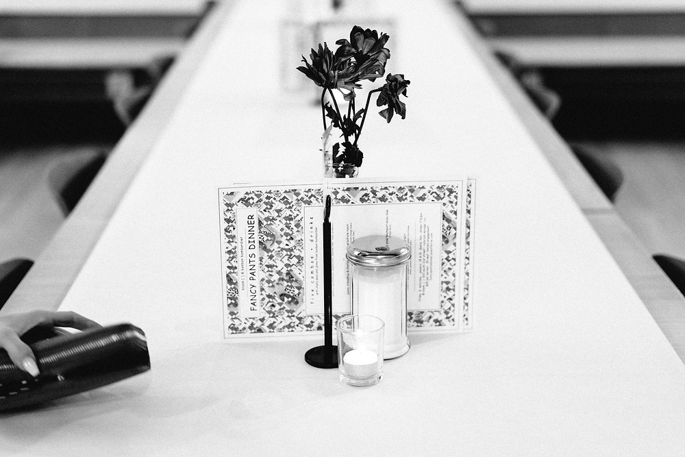 Elegant and simple table settings before guests arrive