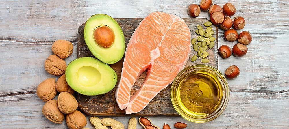 Omega-3 rich foods on a wood plank