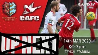 Game postponed - Saturday 14th 2020
