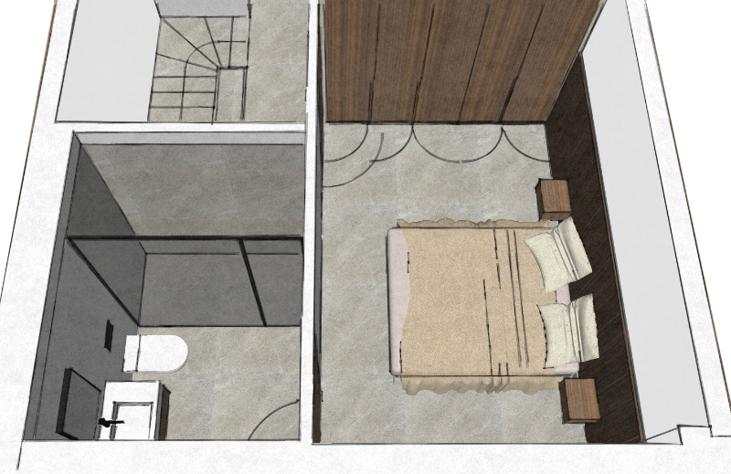 Sketch of the 1st floor Master Bedroom with the bathroom