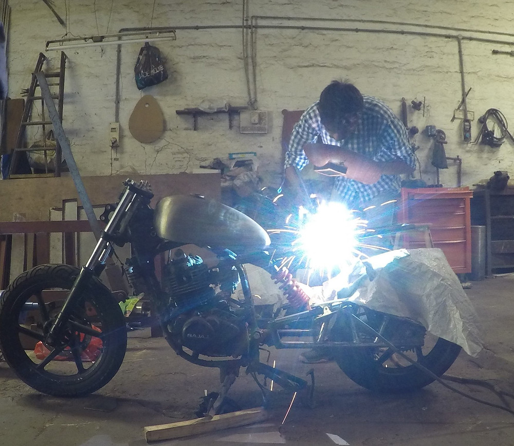 Welding a rear frame of BratBob build