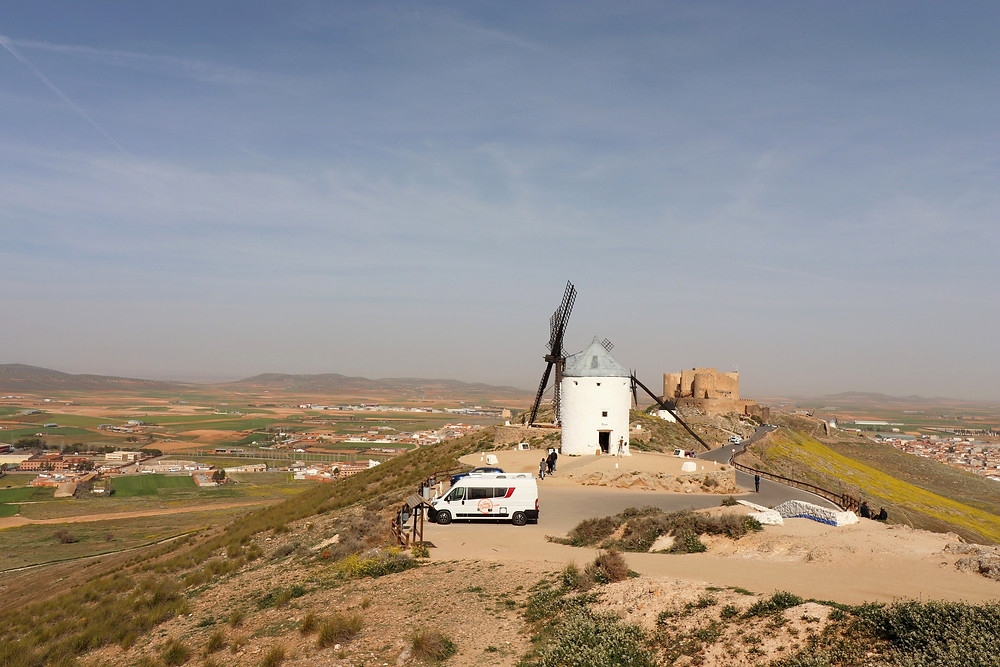 Windmills on a hill in Consuegra in La Mancha, Spain