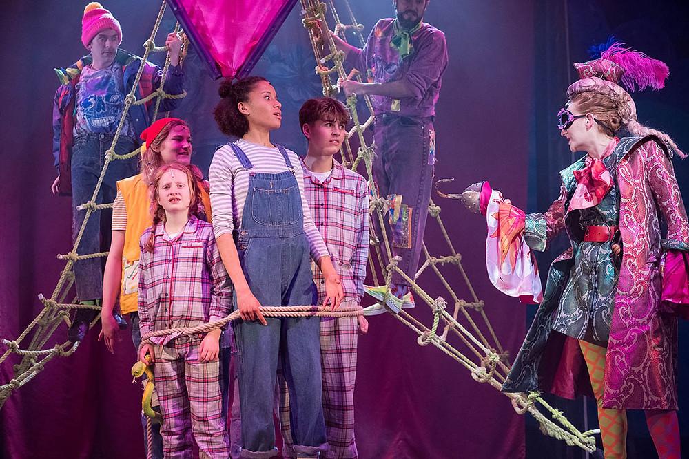 Catrin Jones as Tootles, Mia Jesenska as Mikey Darling, Georgia Jackson as Wendy, George Bellamy as John Darling and Imogen Slaughter as Hook in Storyhouse's Peter Pan. All pics: Mike McNulty