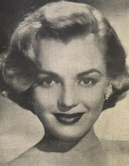 Black and white closeup photograph of Marilyn Monroe