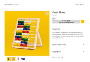 Изменение оформления и текста кнопки «Нет на складе» на странице товара в интернет-магазине Wix Stores