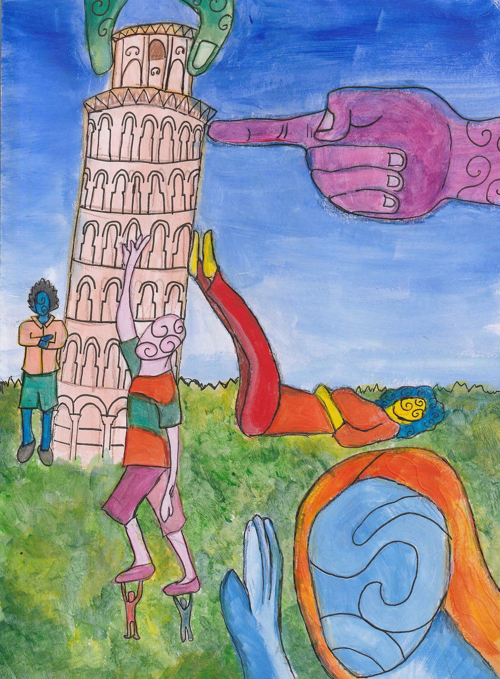 A painting of the leaning tower of Pisa with many alien like posing tourists