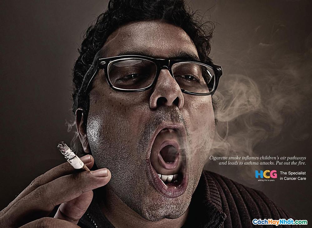 Áp phích quảng cáo chống hút thuốc bởi hcg