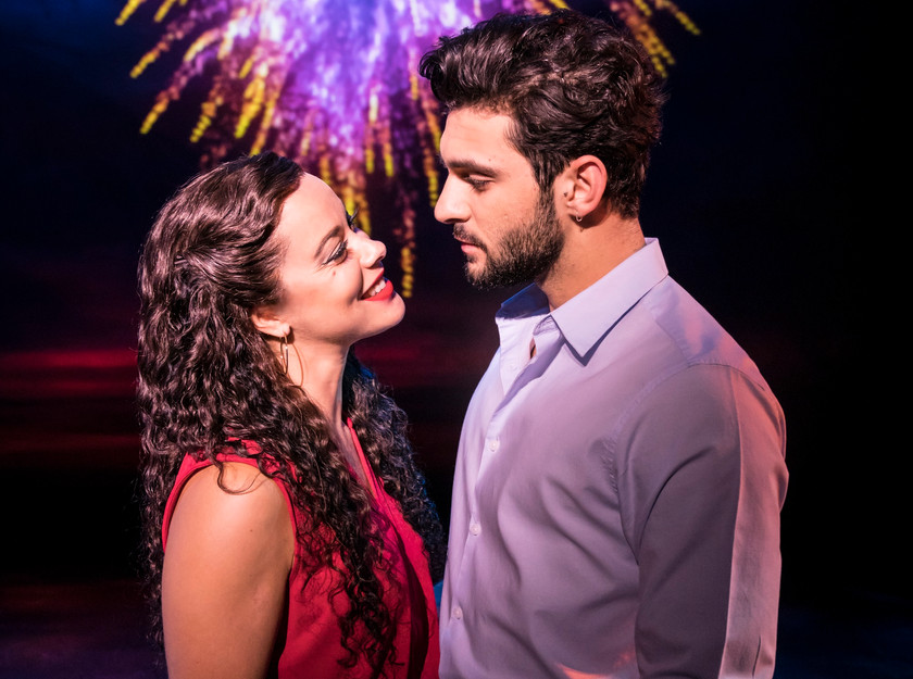 Philippa Stefani as Gloria and George Ioannides as Emilio Estefan in On Your Feet!, Palace Theatre, Manchester