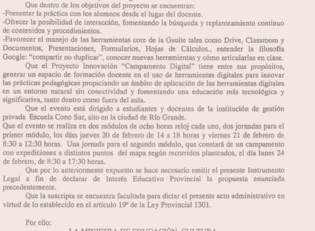 Resolución Ministerial de Interés Educativo Campamento Digital del Cono Sur en Tierra del Fuego