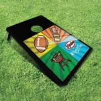 Black cornhole board with colorful images for tailgating, showing a football, a grill, a bottle of hot sauce, and the El Yucateco logo.