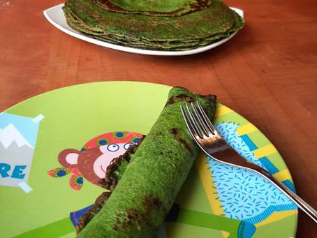 Draken pannenkoeken: pannenkoeken met spinazie.