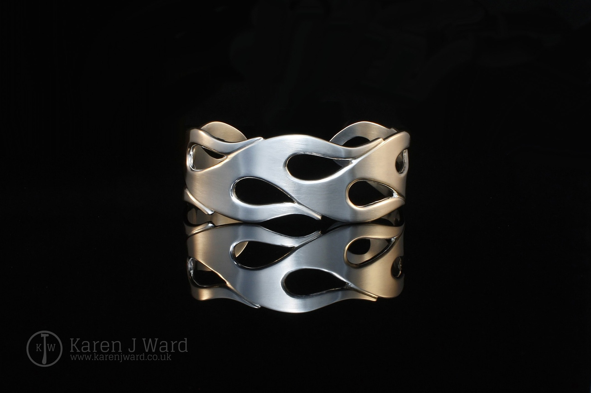 Custom Flame sterling silver heavyweight cuff