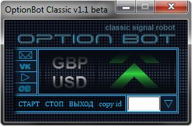 OptionBot Classic сигнальный робот для бинарных опционов.
