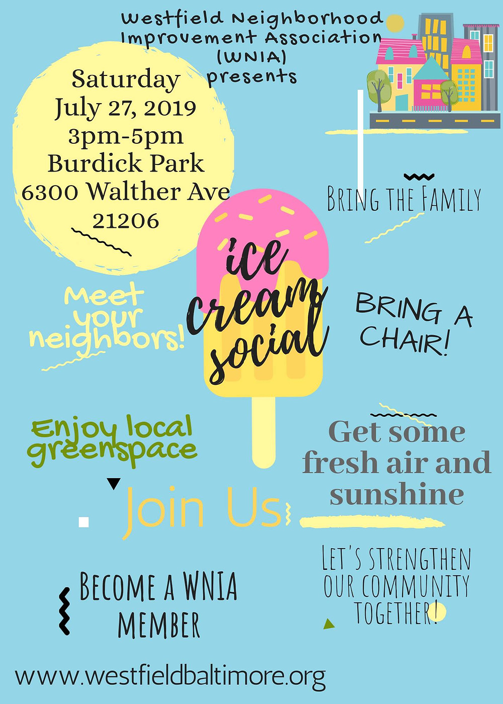 Weather bug says the weather will be sunny with the high of 88 so come join us at our first Ice Cream Social!
