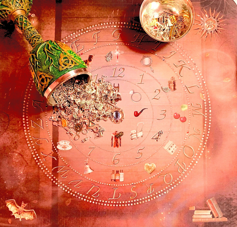 Charm casting chart.Charm castingis a cleromancy divination by which a person castscharmsin an area and deciphers the meaning based on how and where they land.