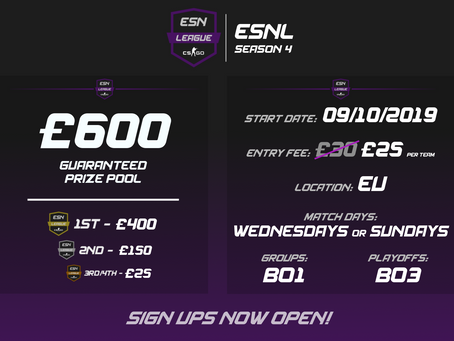 ESNL Season 4 - Early Bird Signups